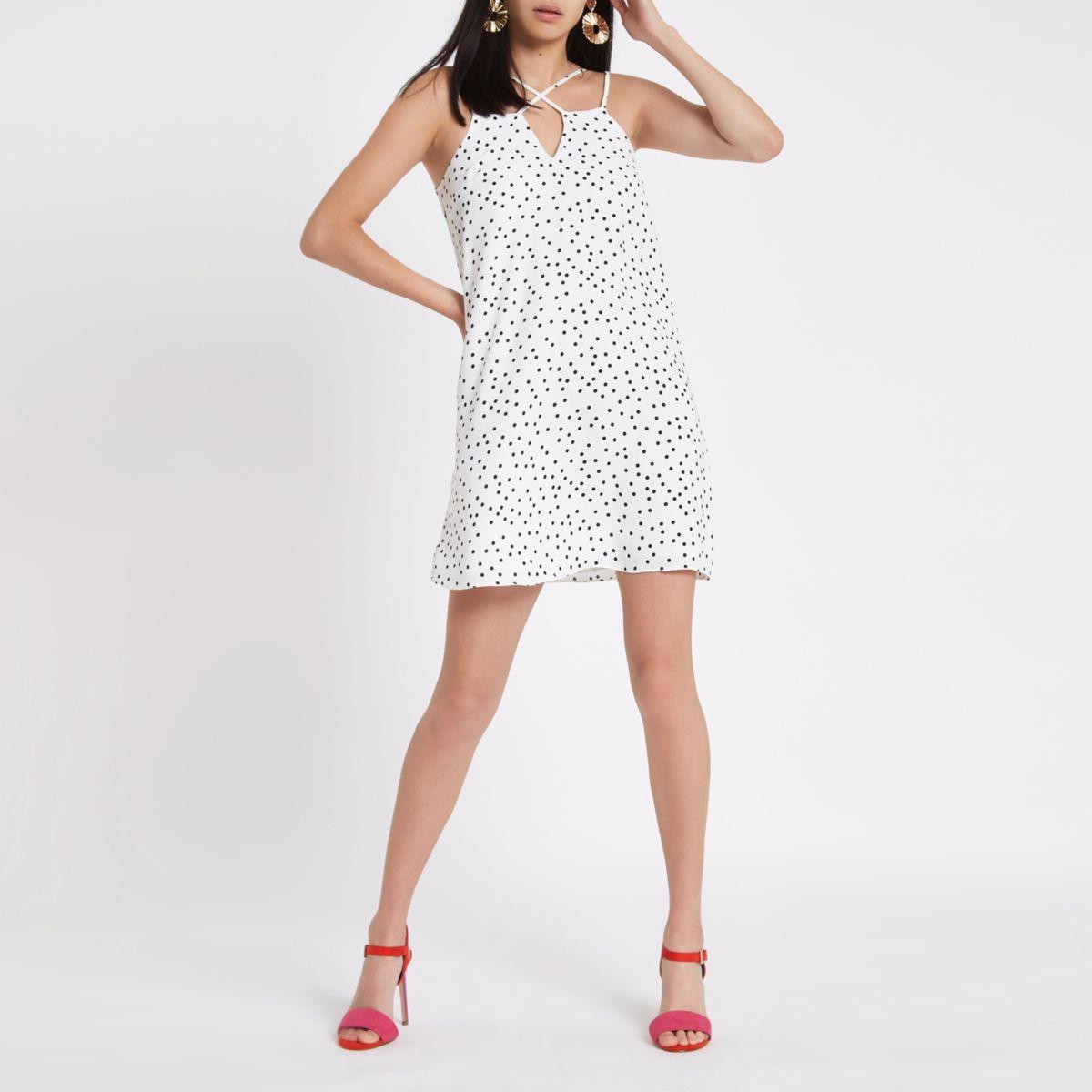 White spot cross strap slip dress