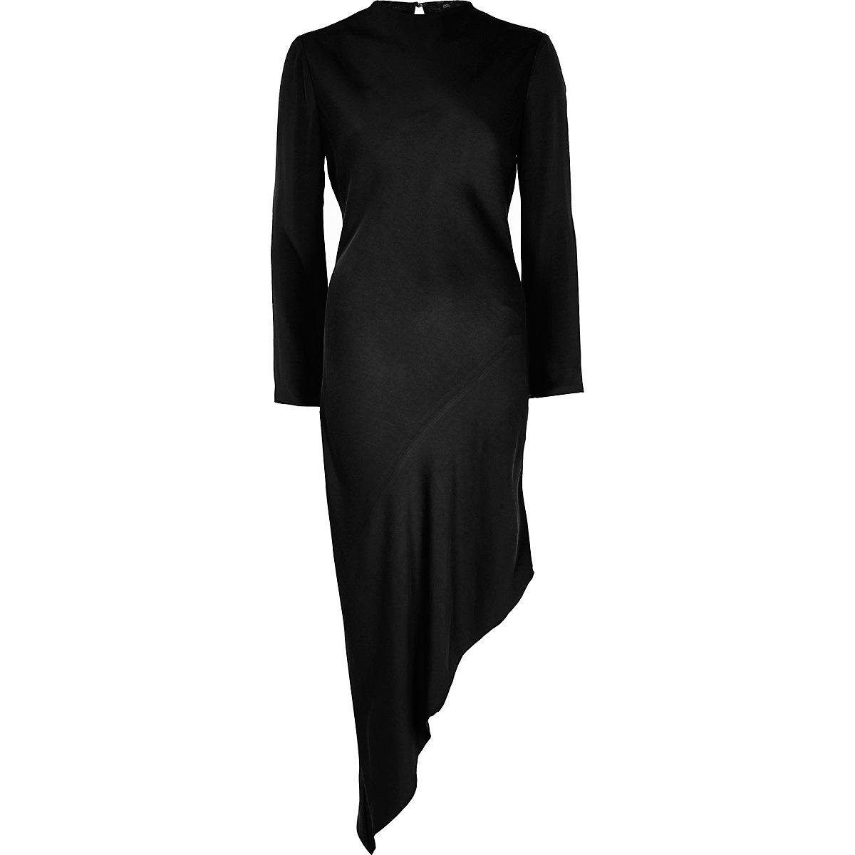 asymmetrische zwarte jurk