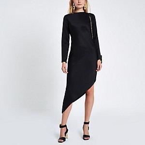 Black long sleeve asymmetric slip dress