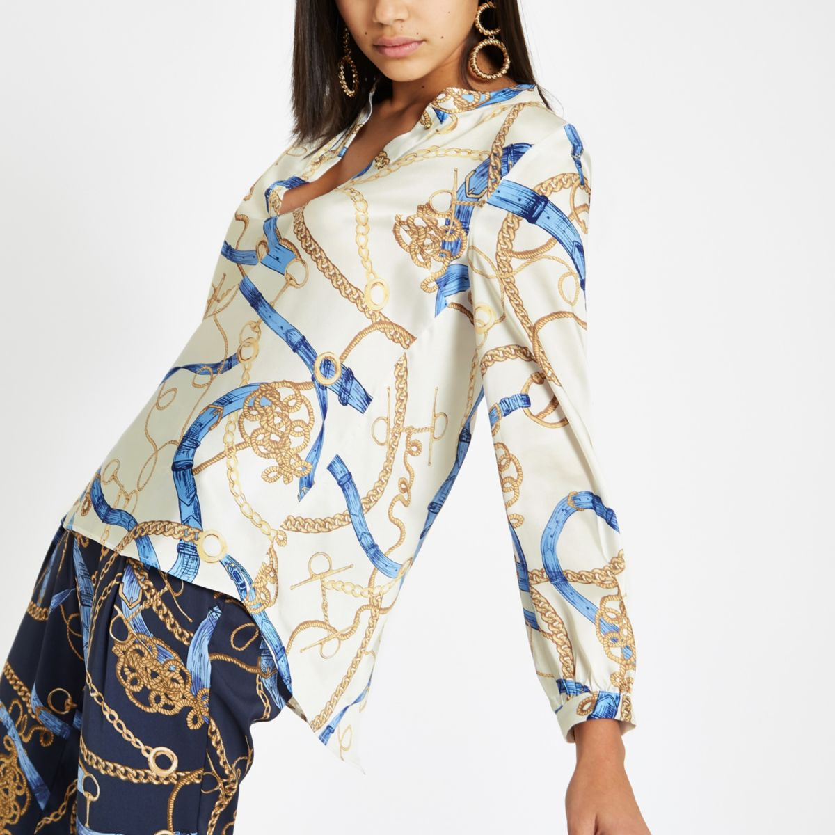 Cream chain print split back blouse