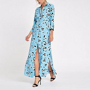 Robe chemise longue à fleurs bleue