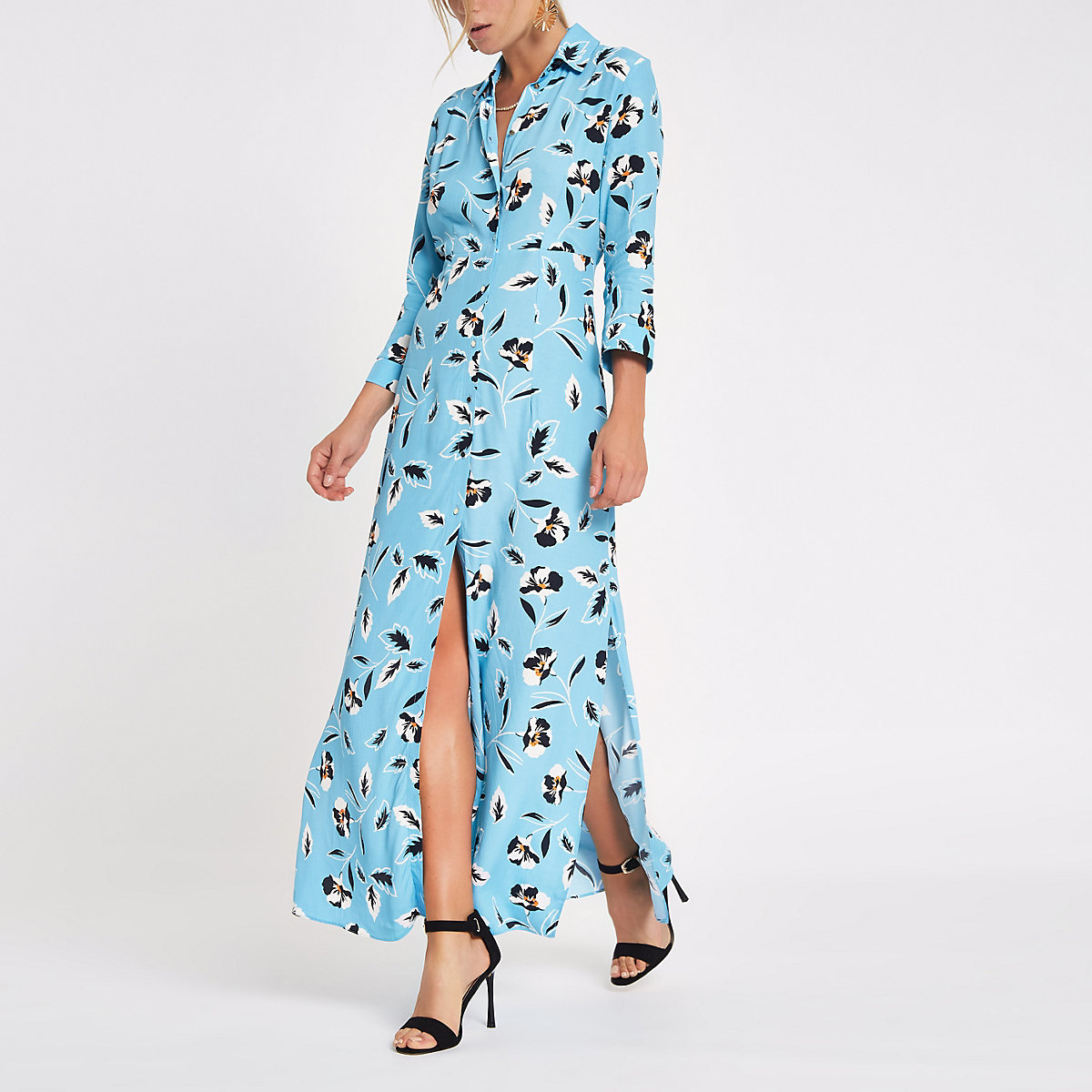 Blue floral print shirt maxi dress