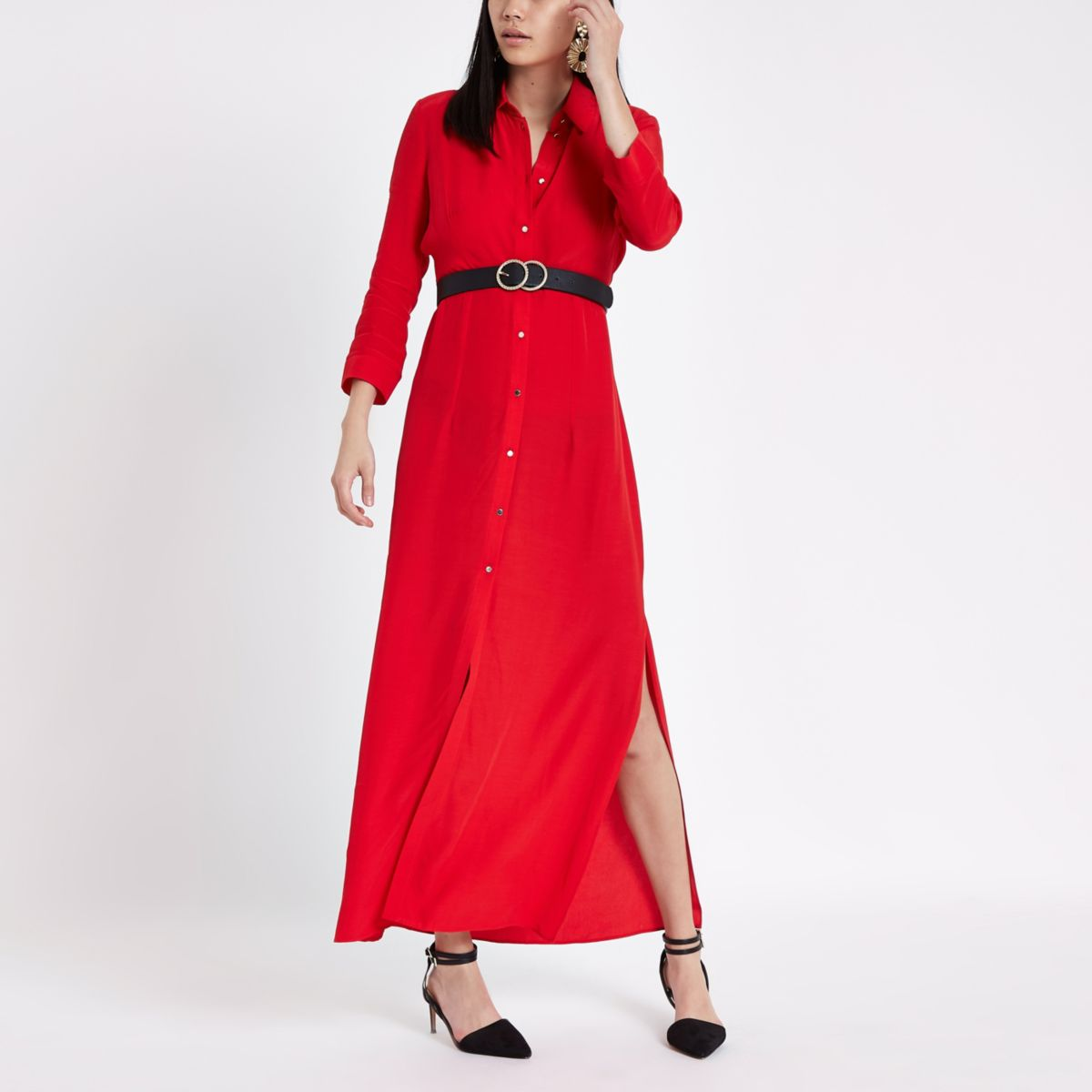 Red shirt maxi dress