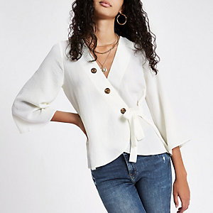 White wrap horn button blouse