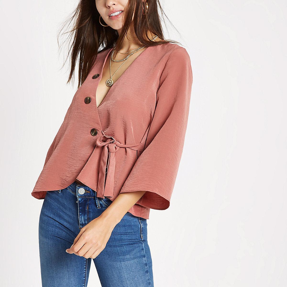 Copper wrap horn button blouse