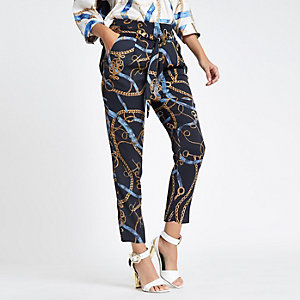 Blue chain print tie waist tapered trousers
