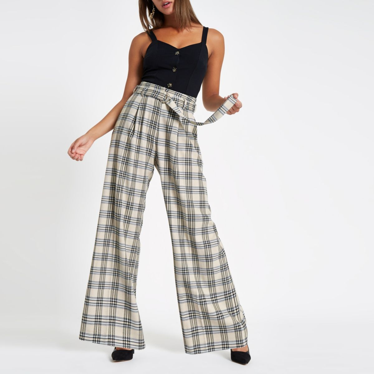 Cream check wide leg belted trousers