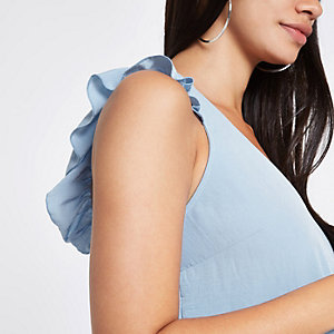 Blue frill shoulder and back sleeveless top