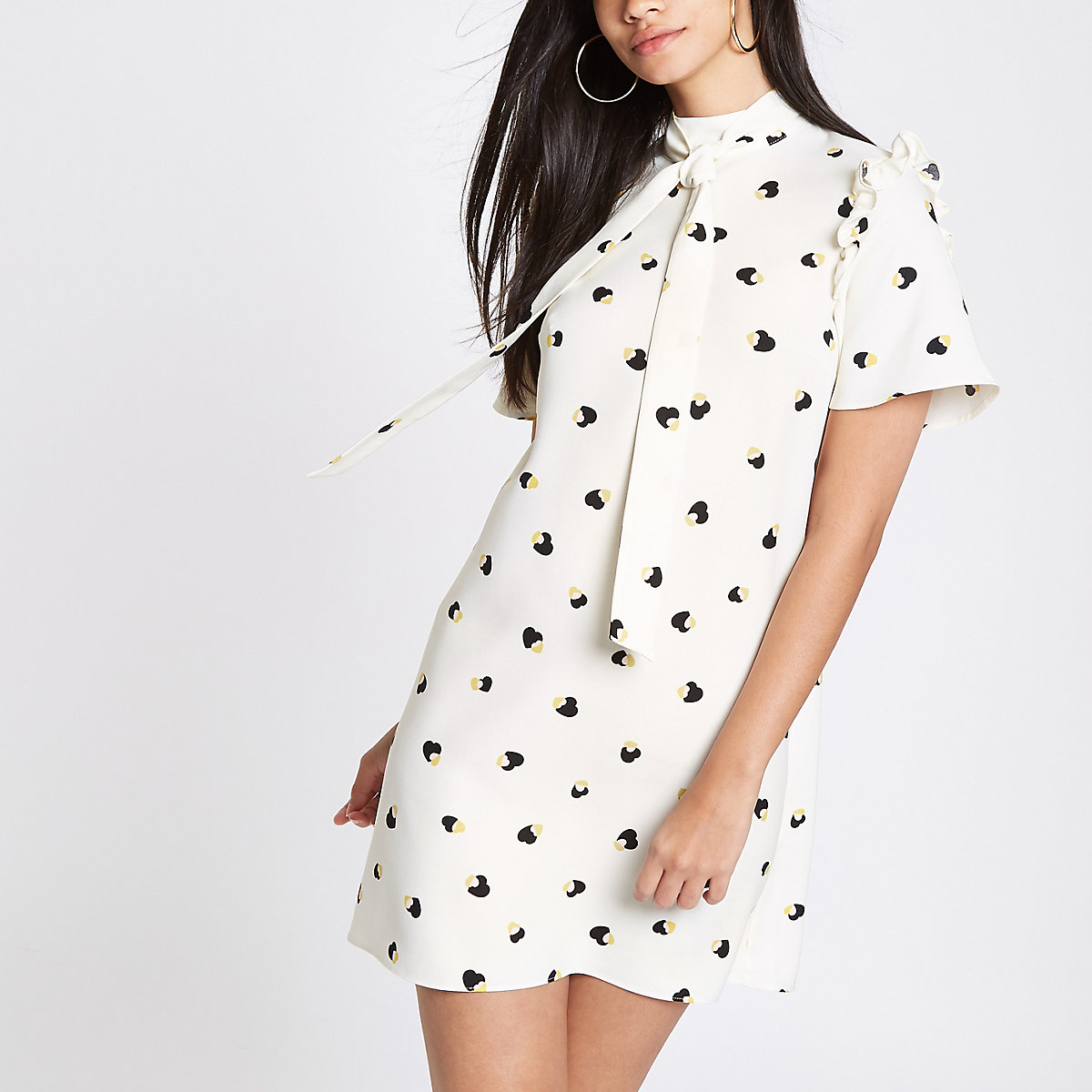 Cream print swing dress