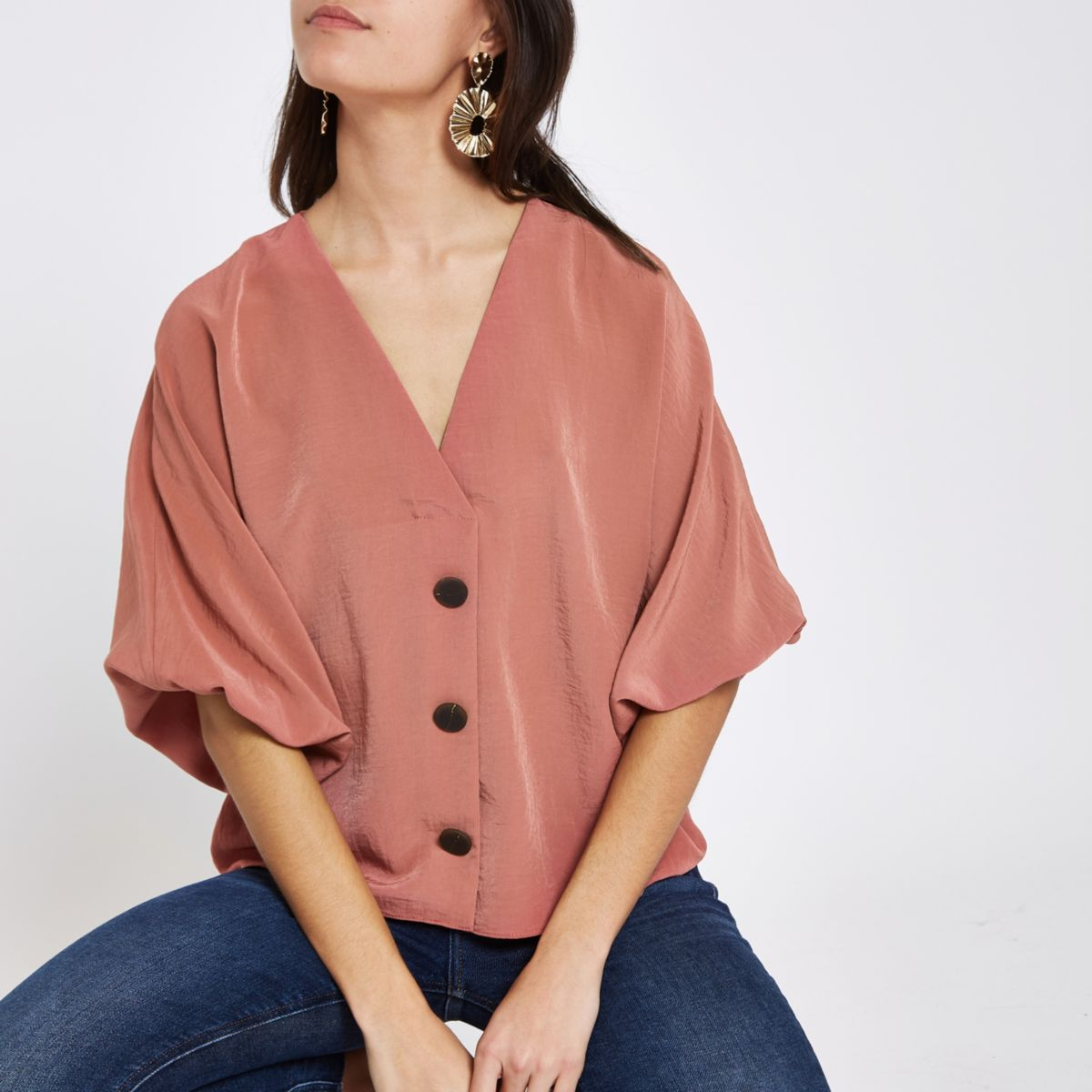 Pink button up V neck top