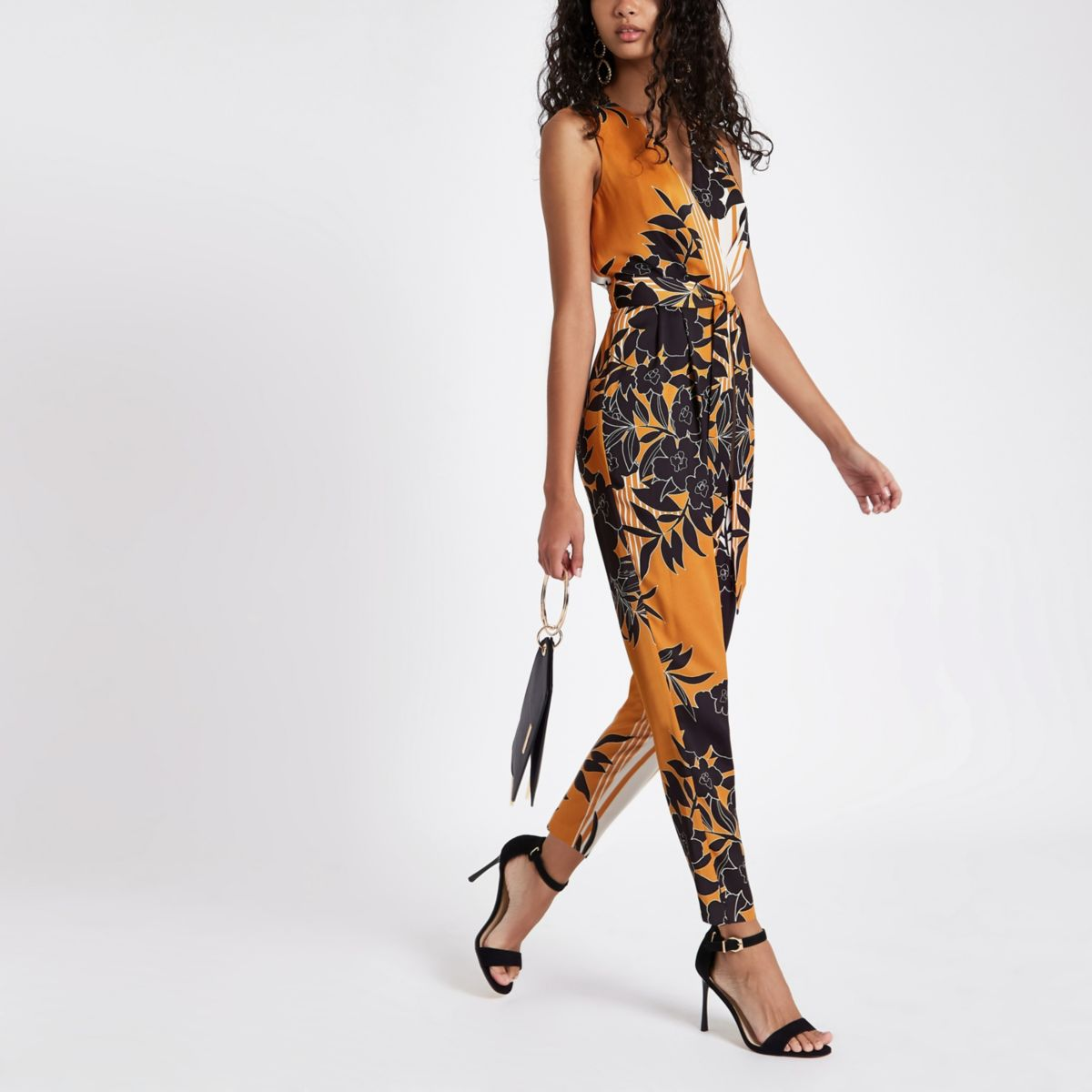 Yellow stripe and floral print jumpsuit