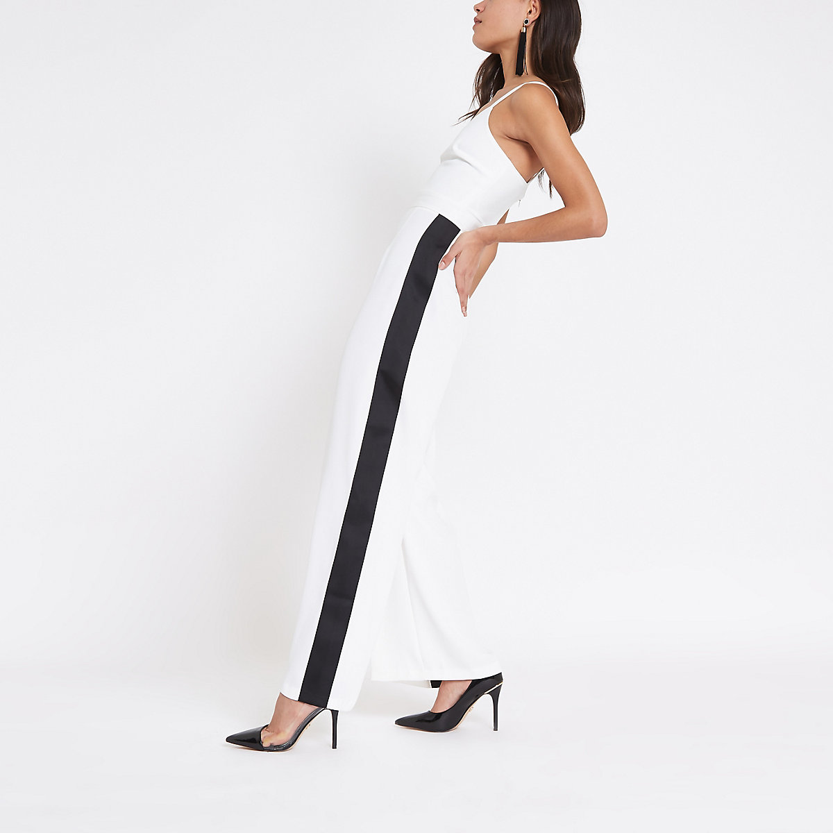 White V neck contrast tape side jumpsuit
