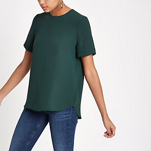 Green zip back loose fit T-shirt