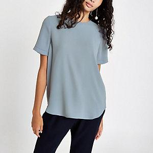 Grey short sleeve zip back T-shirt