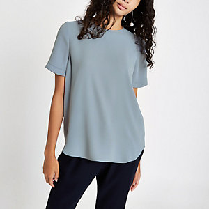 Grey short sleeve zip back T-shirt