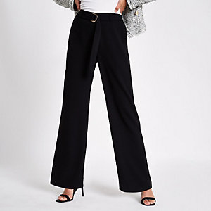 Black slim wide leg belted trousers