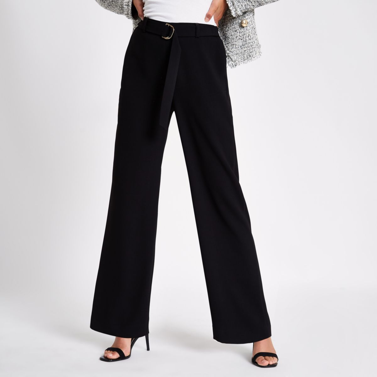 Black slim wide leg belted pants