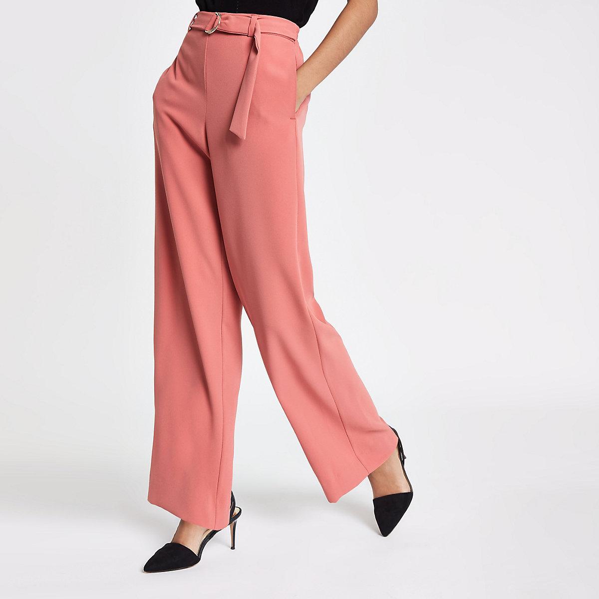 Pink slim fit wide leg pants