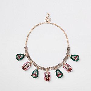 Gold tone rhinestone jewel embellished necklace