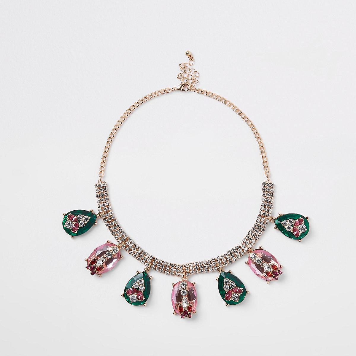 Gold tone diamante jewel embellished necklace