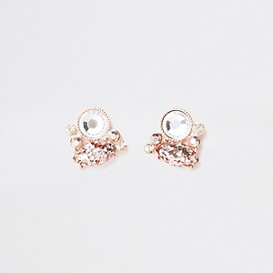 Clous d'oreilles or rose à strass