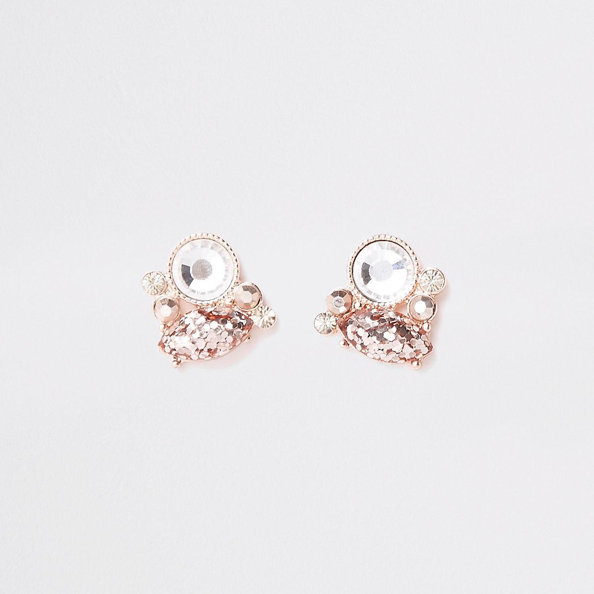 Rose gold tone rhinestone cluster stud earrings