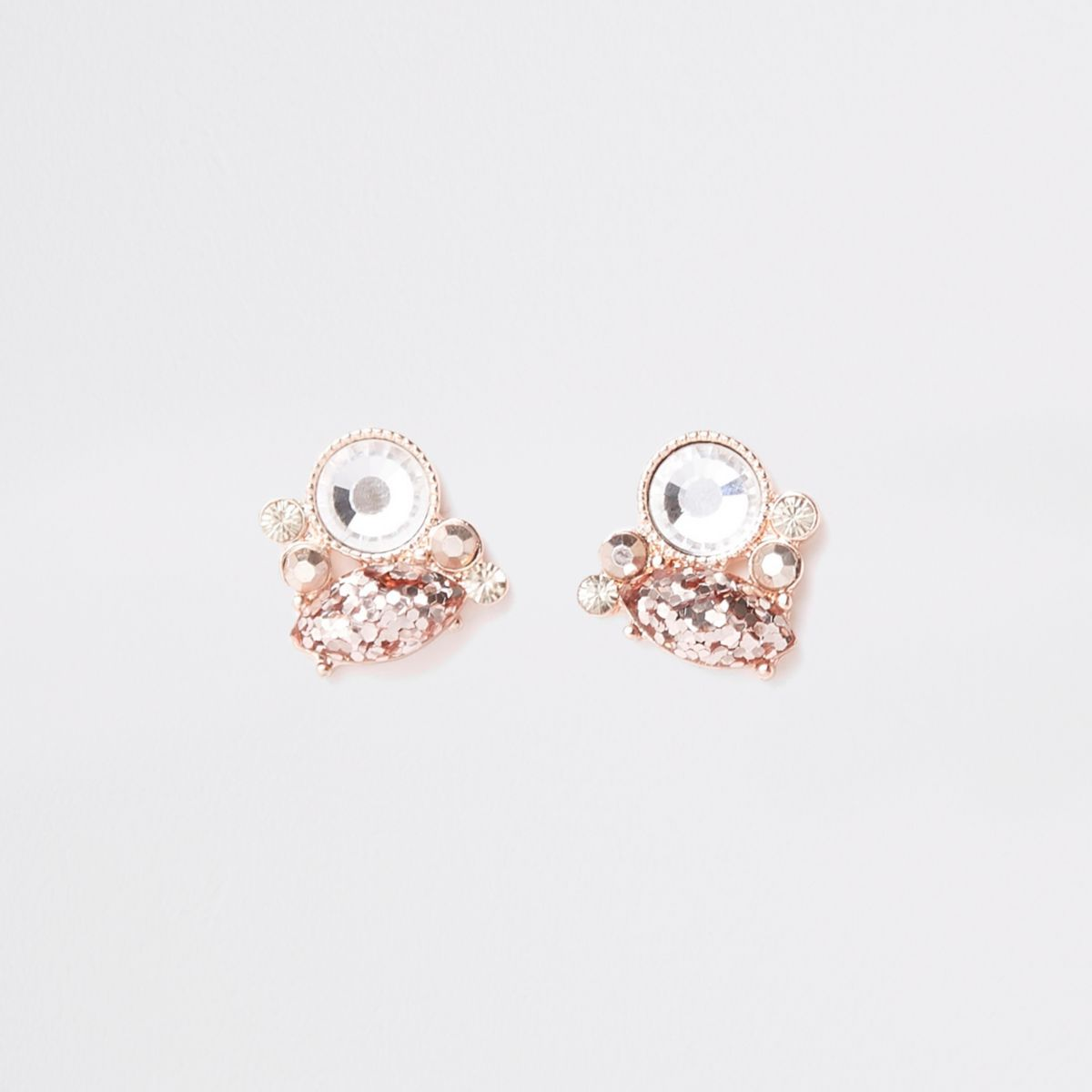 Rose gold tone rhinestone cluster stud earrings