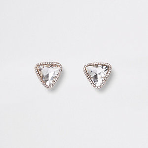 Orange gold tone jewel triangle stud earrings