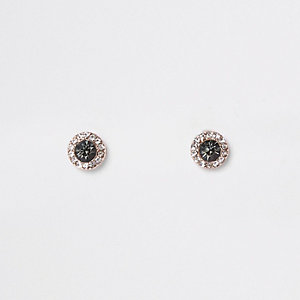 Rose gold tone smoky jewel stud earrings