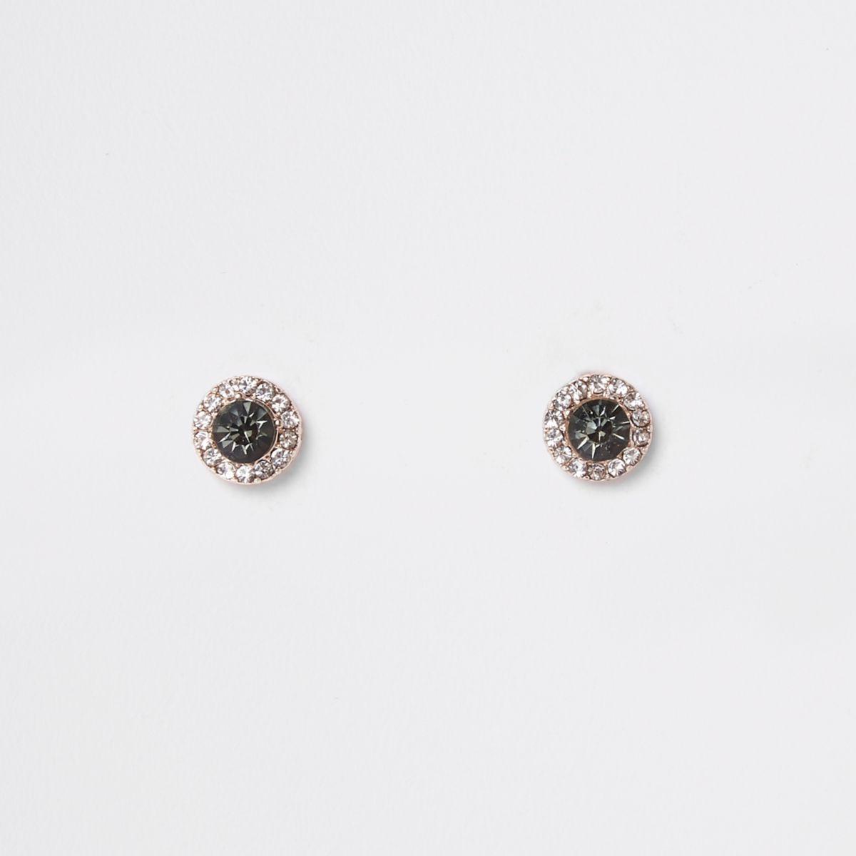 Rose gold tone smoky jewel stud earrings