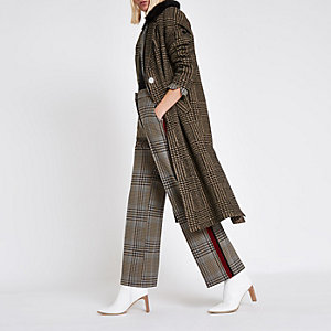 Brown check faux fur knit coat