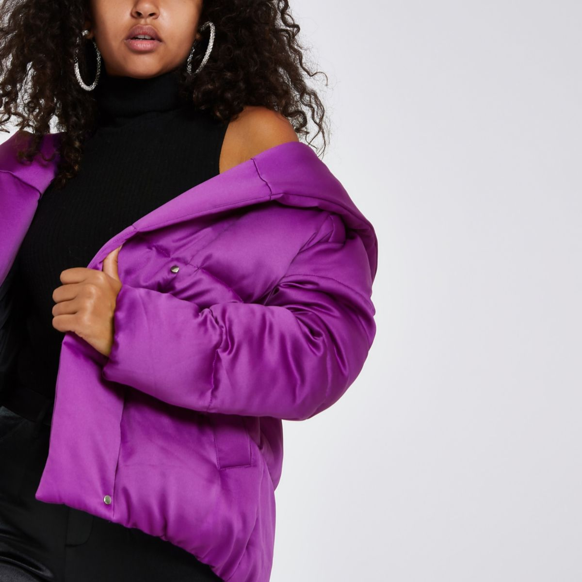 Bright purple short puffer coat