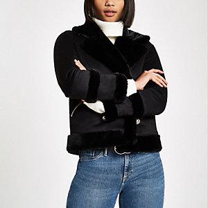 Black faux shearling jacket