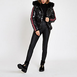 Black high shine faux fur taped puffer jacket