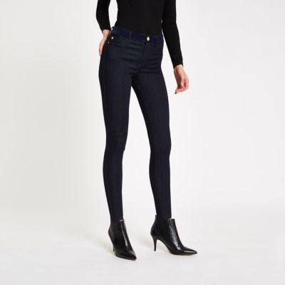 Dark Blue Velvet Waist Mid Rise Molly Jegging by River Island