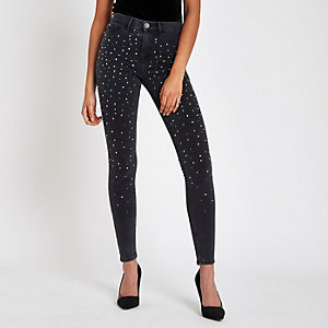 Black Molly diamante embellished jeggings