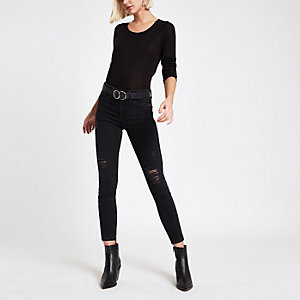 Molly – Schwarze, mittelhohe Jeggings im Used Look
