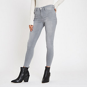 Molly – Jegging taille mi-haute gris à bords bruts