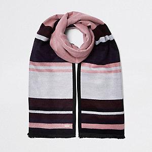 Dark pink stripe double sided scarf
