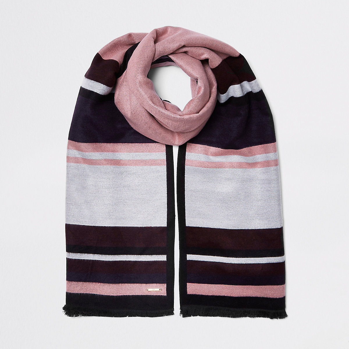 Dark pink stripe double sided scarf