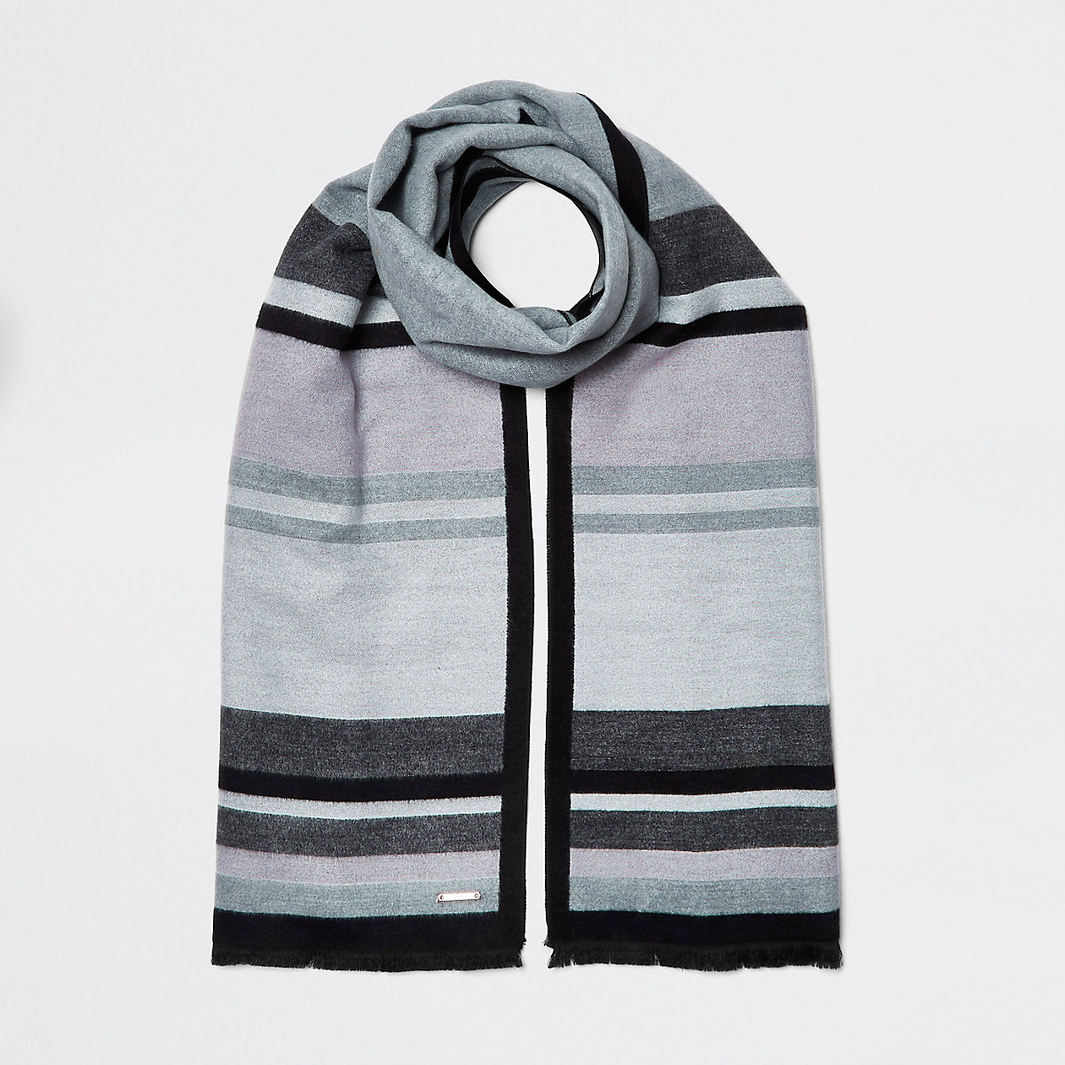 Dark grey blocked blanket scarf