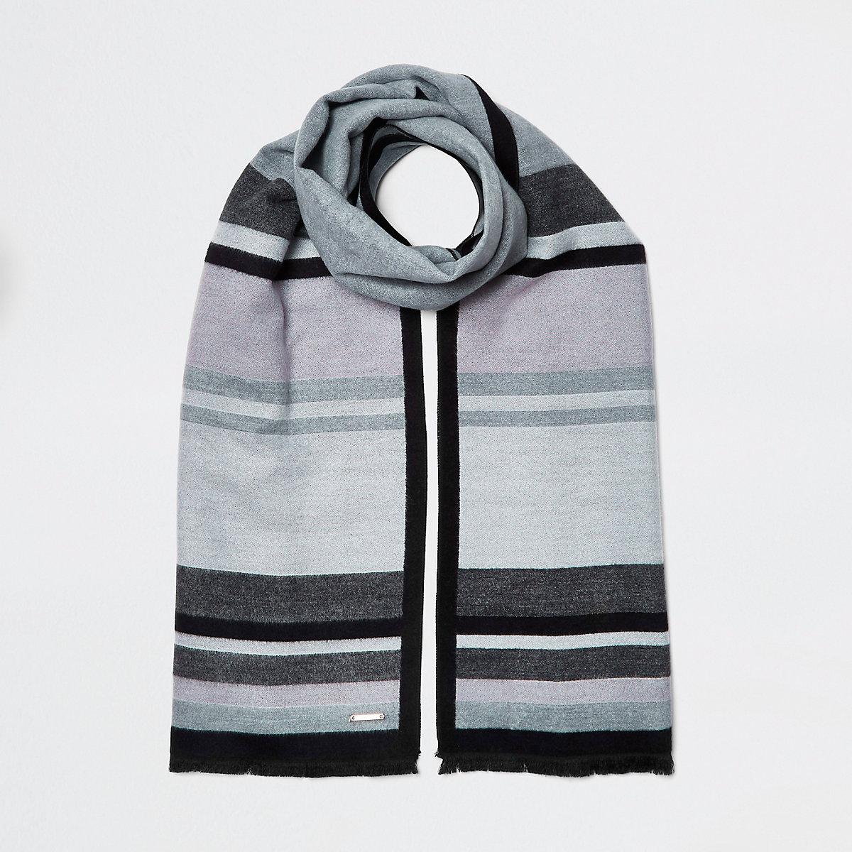 Dark grey blocked blanket scarf