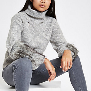 Petite grey faux fur trim roll neck jumper