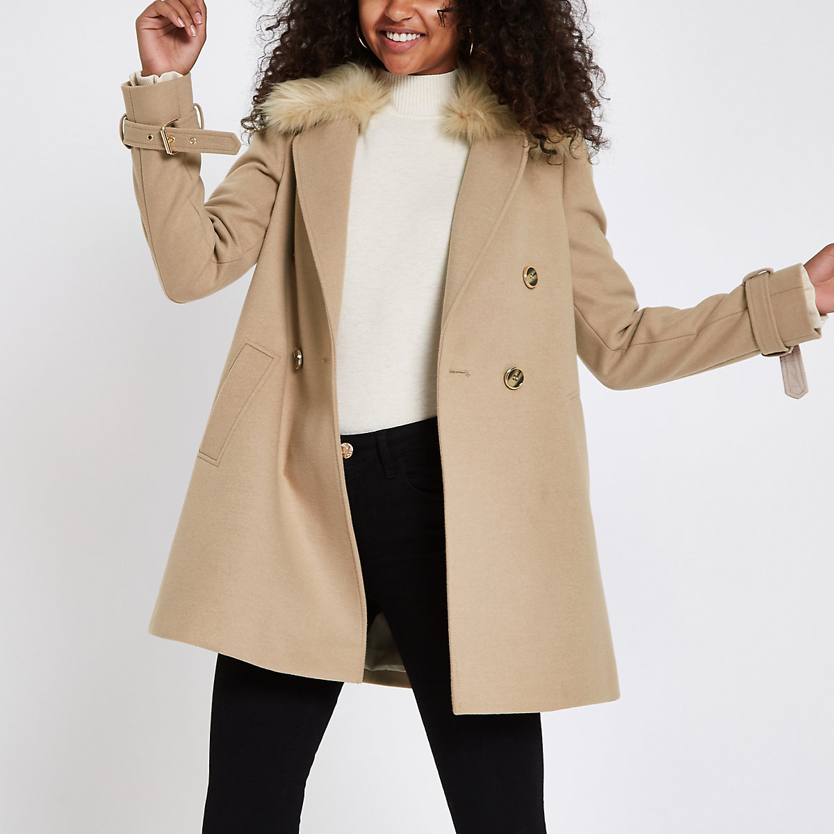 Camel faux fur trim coat