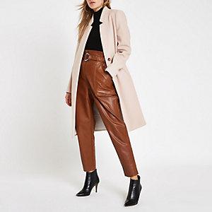 Cream collarless longline coat