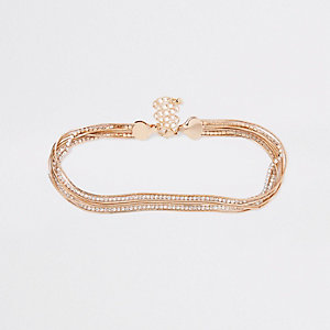 Gold tone diamante snake chain choker