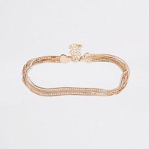 Gold tone rhinestone snake chain choker