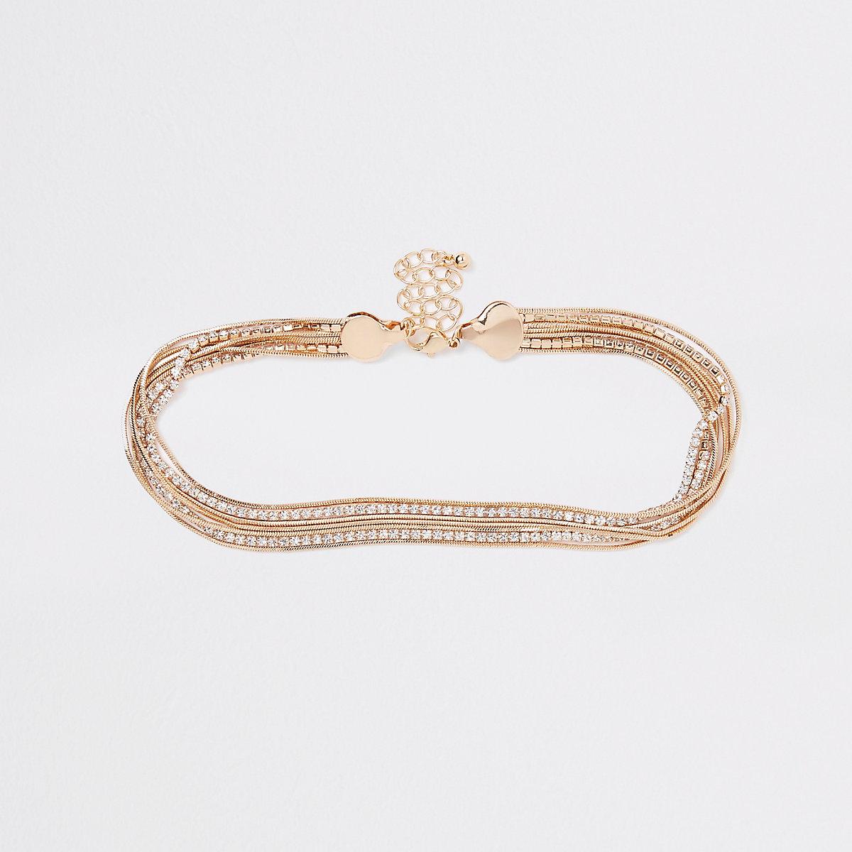 Gold tone diamante snake chain choker