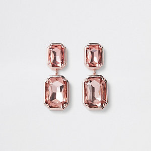 Boucles d'oreilles à clips façon or rose à pierres