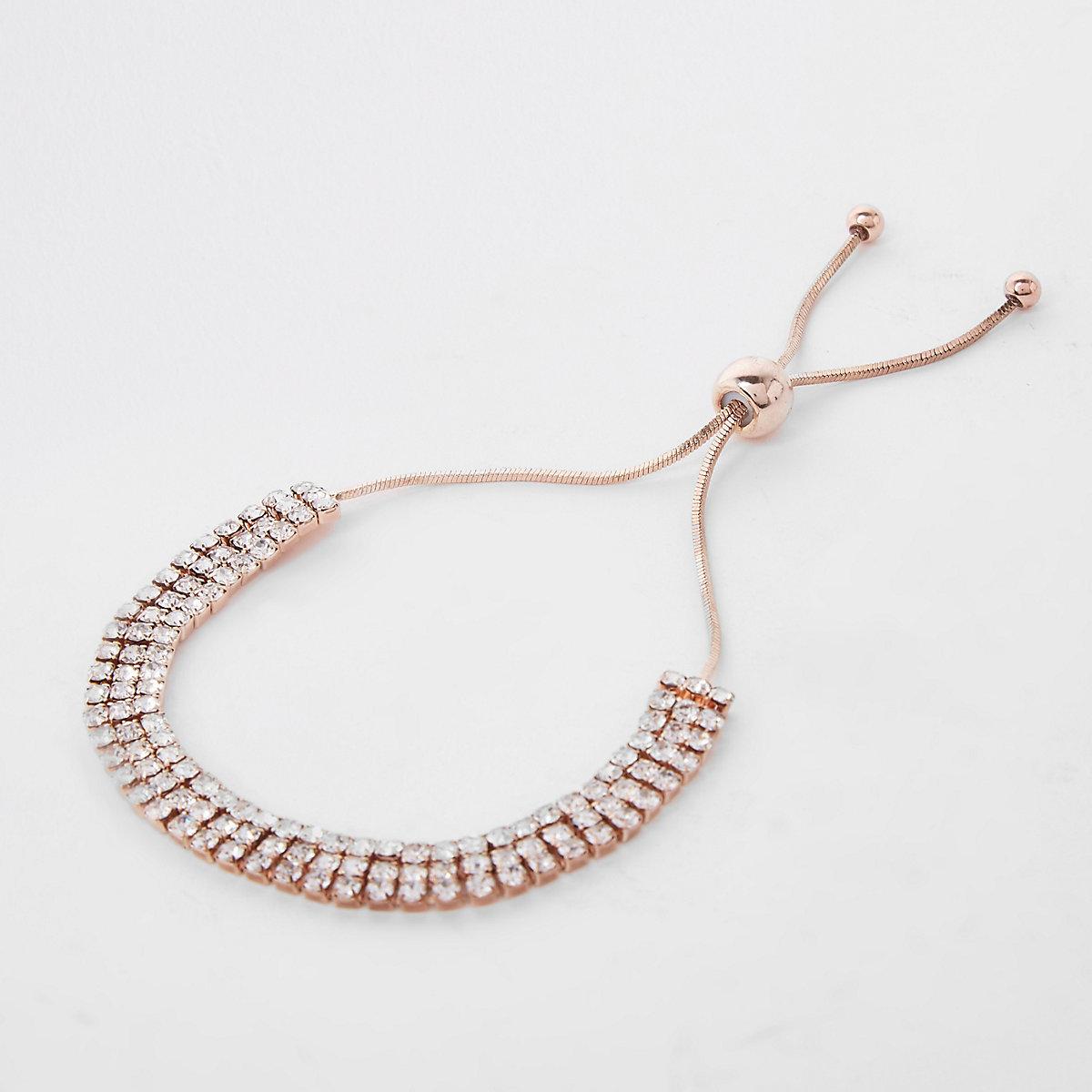 Gold tone diamante lariat bracelet